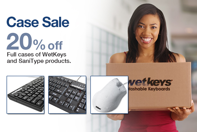 Make the most of your 2018 budget, Save 20% off on Cases of WetKeys and SaniType Products with our Year End Sale