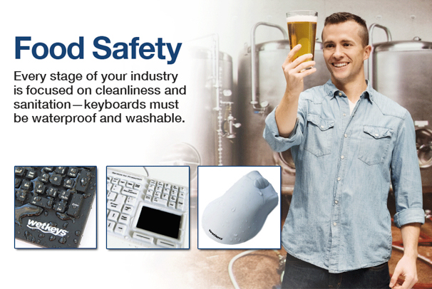 Waterproof and Washable Computer Keyboards and Mice for Food Safety and Food Manufacturing Homepage