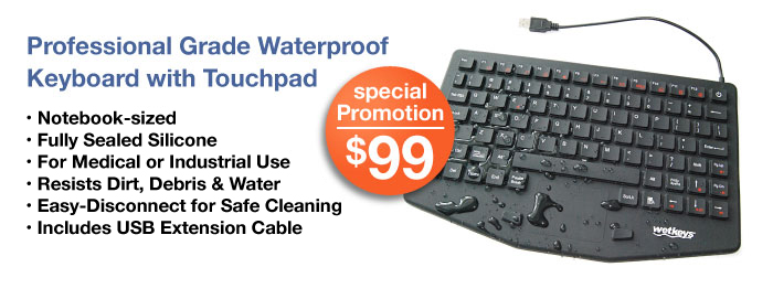 Medical & Industrial Waterproof Keyboard - Wash or sanitize for medical infection control & food processing